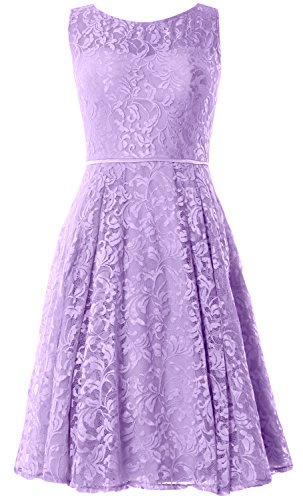 MACloth Women Lace Cocktail Dress Vintage Knee Length Wedding Party Formal Gown Lavande