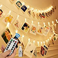 Four Heart LED Photo Clip String Lights - 40 Photo Clips 5M LED Picture Lights for Decoration Hanging Photo, Notes, Artwork