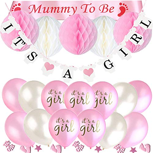 ko Jungen und Mädchen mit It's A Girl Girlande und It's A BOY Girlande, 6pcs Wabenbälle, Mummy to Be Schärpe, Konfetti Babyparty, 15pcs Luftballons für Baby Shower (Rosa) ()