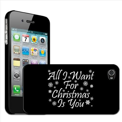 Fancy A Snuggle - Cover posteriore rigida a scatto per Apple iPhone 4/4S con scritta All I want for Christmas is you
