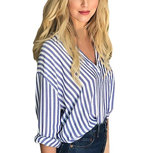 Camicia donna elegante manica lunga collo coreana v scollo vintage classica top azzurra a righe casuale giovane autunno et inverno cerimonia camicie camicette blusa