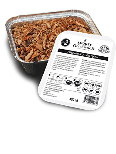 400ml, cippati da affumicatura di olivo & condimento destinato a incenerimento en barbecue, pronto per l'uso in un recipiente de alluminio, Smokey Olive Wood