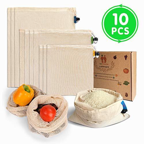 LAPPAZO Bolsas Reutilizables de Compra para Frutas Verduras Juguete y Granos, Bolsas Ecologicas Algotón Material Orgánico Degradable (3*L 3*M 3*L 1*Bolsa Cereales)