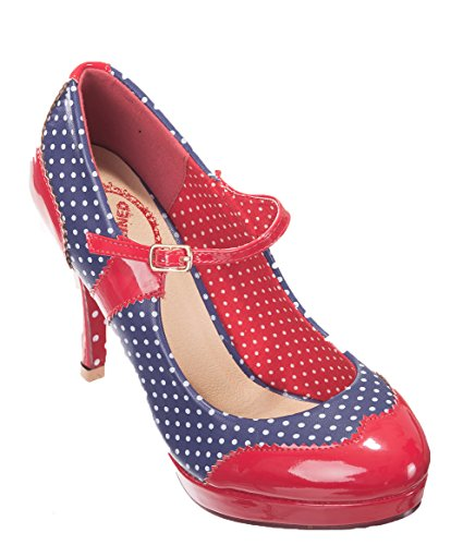 Dancing Days by Banned – rockabilly Pumps – Mary Jane Polka Dot Rouge Bleu marine/rouge