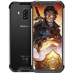Blackview BV9600 Pro Smartphone Incassable, Android 9.0 Global 4G (2019), Écran FHD+19:9 6.21 Pouces AMOLED, Helio P60 128Go+6Go, Caméra 16MP+8MP, Batterie 5580mAh, Smartphone Resistant, Dual SIM-Noir