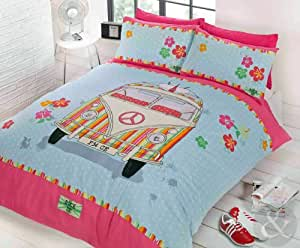 just contempo parure de lit avec housse de couette motif combi vw r tro chic bleu canard rose. Black Bedroom Furniture Sets. Home Design Ideas