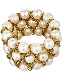 Aradhya Elegant Pearl Golden Wire Charm Bracelet for Women