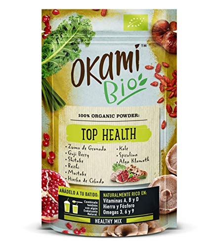 Okami Bio'Top Health' Superfood Powder Mix 150gr | Mezcla orgánica de Granada, Baya de Goji, Shiitake, Reishi, Maitake, Col Rizada, Espirulina, Algas Klamath