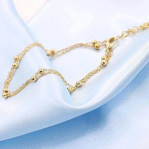 Cdet Bracelet de Cheville de Femmes Chaîne Bracelet de 2 Couches cheville Sandales pieds nus Bijoux de plage de Décor D'or
