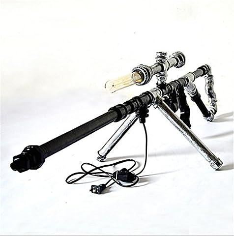 WSNB Pipes Sniper Rifle Creative Retro Fer Table lumineuse Offce Bar Salon de chevet bricolage eau Lampe de table, 220V