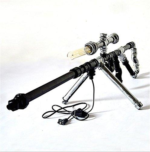 YMXJB Tubos de hierro creativo retro rifle de francotirador mesa de iluminación Offce Living Bar de noche DIY lámpara de mesa de agua, 220V