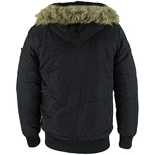 Bellfield Melo Mens Parka Jacket Black Schwarz