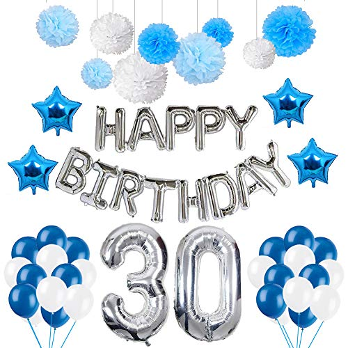 Weimi 30. Geburtstags-Dekorationen Happy Birthday für Männer 20pcs Latex Ballons 9pcs Seidenpapier Pom Poms (Birthday Männer Happy)