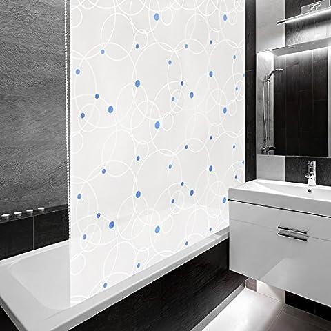 Design Duschrollo Kreise | viele Größen | schnelltrocknend | Deckenbefestigung mit Halbkassette | halbtransparent, blaue Punkte | 160x240cm (BxL)