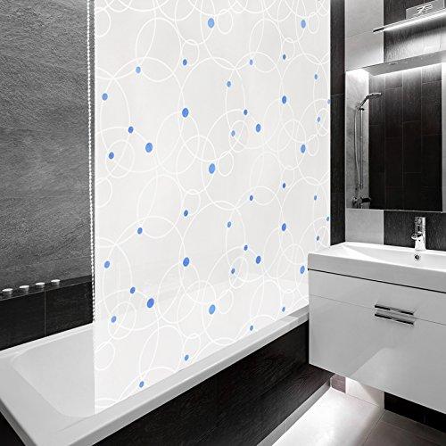 Design Duschrollo Kreise - Halbkassette - schnelltrocknend - blaue Punkte - 140x240cm