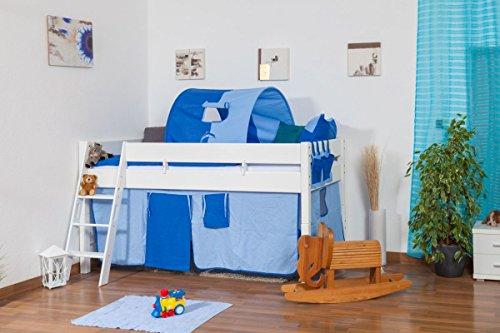 weißes halbhohes Bett - Buche Massivholz 90x200 cm