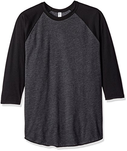 sex Poly-Cotton 3/4 Sleeve Raglan Shirt - Heather Black / Black / XS ()