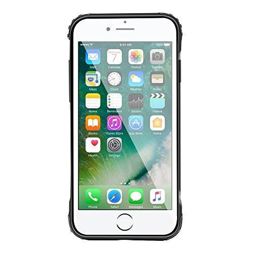 """iPhone 8 Plus Housse , SHANGRUN Hybrid Defender Aluminium Métal + Fibres de Carbone Resilient Souple TPU Antichoc Case Etui Housse pour iPhone 7 Plus / iPhone 8 Plus 5.5"""" Bleu Rouge"""