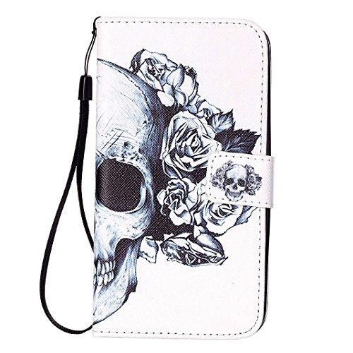 LG K8 2016 Cover Flip, LG K8 2016 Custodia in Pelle, Moon mood ® PU Leather Soft TPU Inner Flip Dual-slot Wallet Pelle Cikou and Bracket Function Prevent Scratch Protect Phone Case Custodia Cover per  Skull