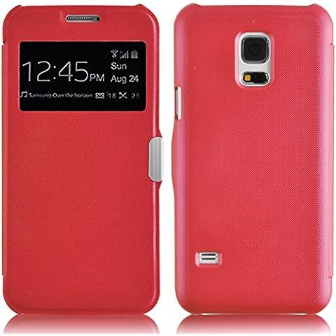 JAMMYLIZARD | Funda Tipo Libro Para Samsung Galaxy S5 MINI Flip Cover Con Cierre Magnético, ROJO