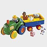 solini Traktor mit Anhänger – Baby Spielzeug mit Soundfunktion – fördert die Feinmotorik und Hand-Auge-Koordination