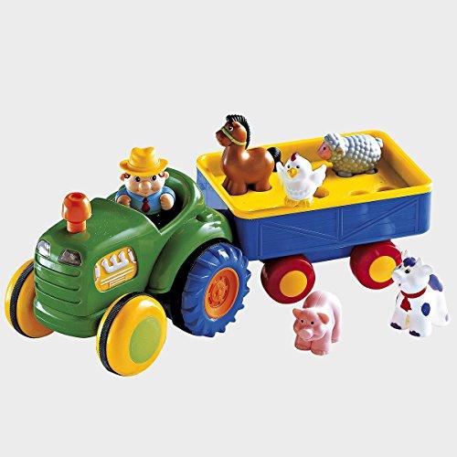 solini Traktor mit Anhänger - Baby-Spielzeug mit Soundfunktion - fördert die Feinmotorik & Hand-Auge-Koordination - ab 12 Monate - bunt