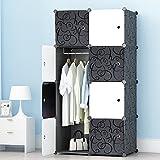 ETTBJA DIY Plastik Schrank Portable Kleiderschrank Mit schwarz-weiß-Türen Speicher-Design ihre