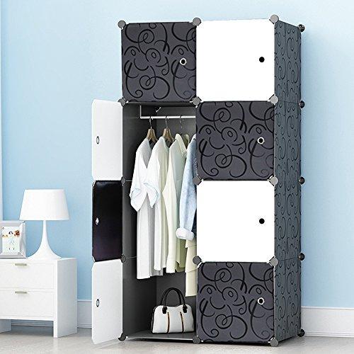 Ettbja guardaroba di plastica diy armadio portatile con porte in bianco e nero storage design tuo (8 cubi con 1 grucce)