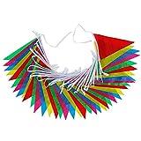 Anpro 40 Wimpeln Girlande Schöne Wimpelkette 15 M Fahnen Girlande in 5 Farben für Weihnachten Geburtstagsparty, Mehrfarbig