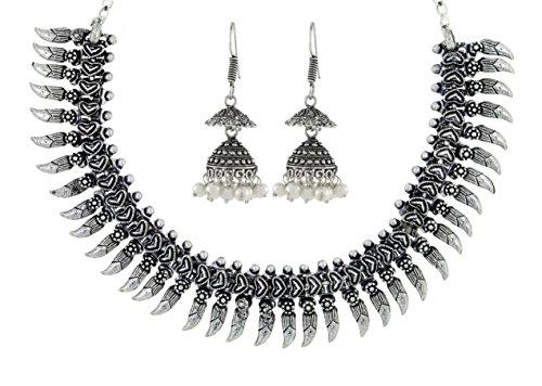 Die Jewelbox Tribal Bohemian Pearl Oxidation Deutsch, versilberte Bass Halskette Ohrring Combo für Frauen (Halskette-ohrring-combo)
