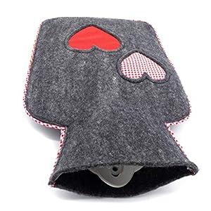 feelz – Wärmflasche gefilzt Herz rot weiß Filz Wolle (Merinowolle) Wärmflaschenbezug – Handarbeit Fairtrade