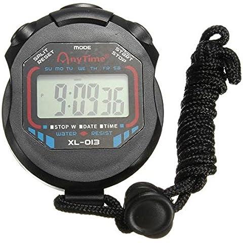 Resistente al agua Digital Cronografo temporizador cronometro contador reloj deportivo