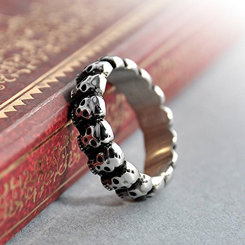 Erawan moda anillo de calavera Acero inoxidable gótico Vintage Biker Mens Negro Anillo Tamaño 7–9EW sakcharn