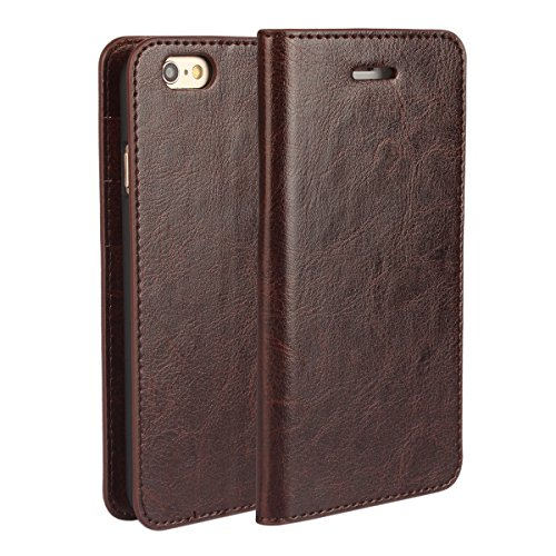 (Tmusik) iPhone 6 Case, Stand View Premium Leather Wallet Case, Slim Fit Flip Folio Book Style Pouch Cover, with 3 Card Slots (Coffee) Coffee