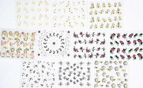 10pcs/package ongles autocollants décalques conceptions multi-mix, y compris les fleurs noires / fleurs blanches avec de l'or / coeur / paillettes fleurs / Français semi-pâte ongles autocollants décalques / etc.