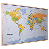World Pinboard Wall Map 90cm x 60cm ~ Real pine wood frame with easy-hang 3M Command hook and twelve flag pins