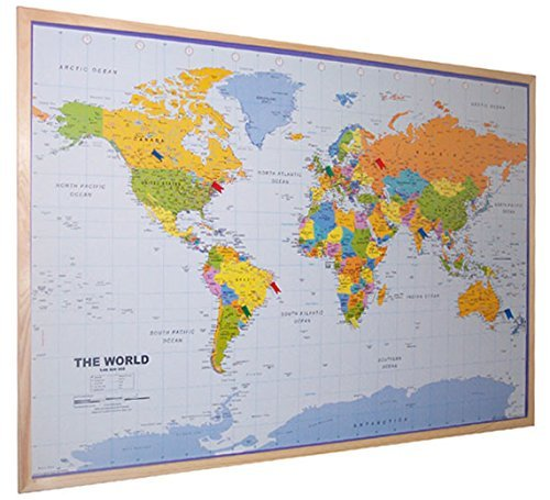 World pinboard wall map 90cm x 60cm real pine wood frame with easy save gumiabroncs Image collections
