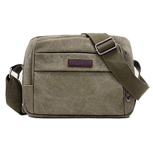 """BZLine® Männer Handtasche Schultertasche Outdoorsport Leinentasche Tasche , 24cm*18cm/9.4*7.1"""" Army Grün"""