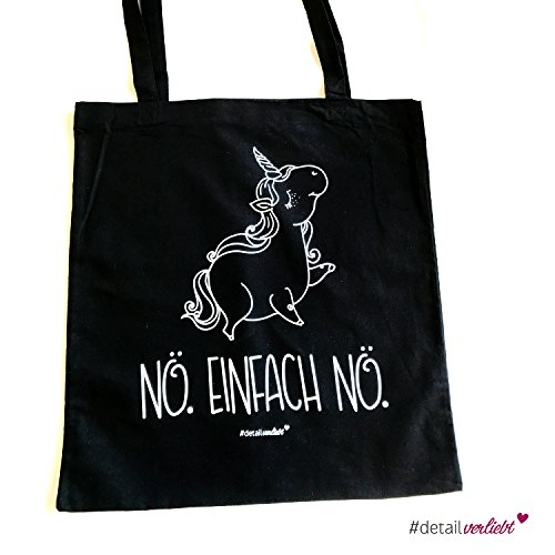 1 Einhorn Nö. einfach Nö. Baumwoll-Tasche I dv_238 I groß Jute-Beutel Shopper in schwarz...