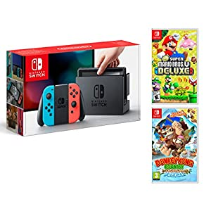 Nintendo Switch 32Gb Neon-Rot/Neon-Blau + New Super Mario Bros. U Deluxe + Donkey Kong Country: Tropical Freeze