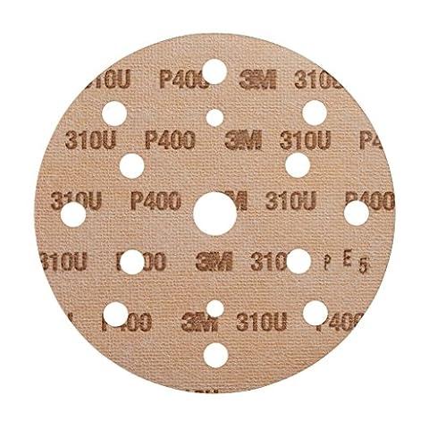 Disque abrasif support papier 3M Hookit 310U, 150 mm, Grain 400, 15 trous, 100 disques / boite