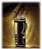 Schlummerlicht24 Led Holz Golfschläger Golftasche mit Name für das Wohnzimmer Schlafzimmer Flur Geschenke individuell personalisiert