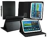 Emartbuy Mediacom SmartPad MX 10 HD Lite Tablet PC 10.1 Pollice Universale (10-11 Pollice) Carbonio Nero Angolo Multi Esecutivo Portafoglio Custodia Case Cover con Scomparti per Carte + Stilo