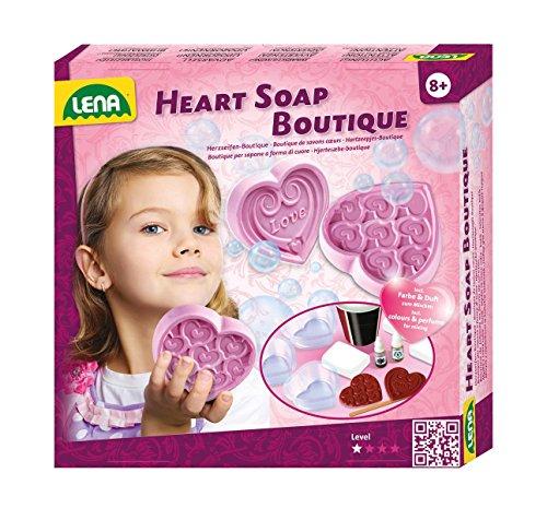 Lena 42333 - Bastelset Heart Soap Boutique, Komplettset zum Seifen selber machen mit Seifenmasse, 3 Herzformen, 2 Herz Stempel, Duft - und Farbkonzentrat, Set zum Seifen gießen für Kinder ab 8 Jahre (Herzen Stempel Set)