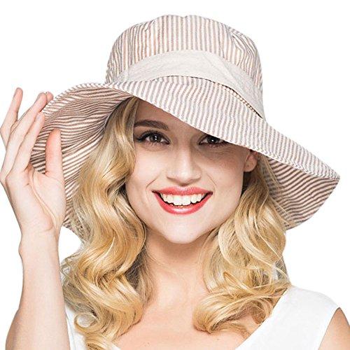 iShine Sonnenhut Damen Sommer Streifen Stoffhut mit Schleife Faltbarer Caps Sonnenschutz Breite...