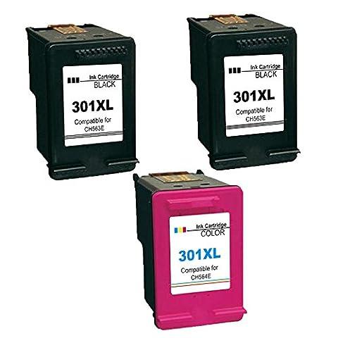Remanufactured Ersatz für HP 301XL Druckerpatronen, 2 Schwarz/1 Tri-Farbe Kompatibel