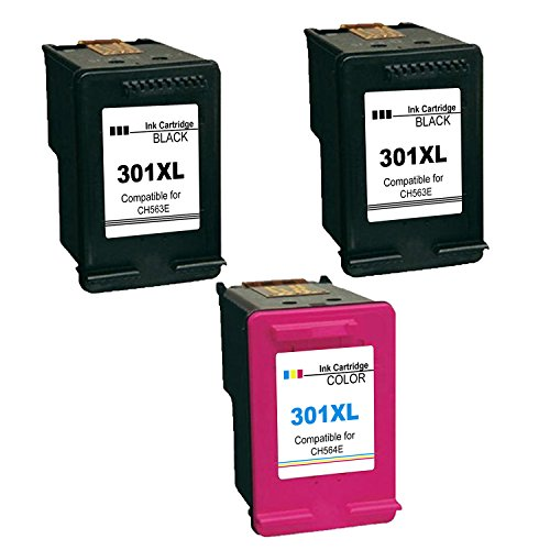 Kyansin 301 XL Ink Cartridge remanufacturing HP 301XL (CH563EE CH564EE) Inks Printer High Performance HP DeskJet 1000 / 1010 / 1050 / 1051A / 1055 / 2000, (2 1 Black + Color)