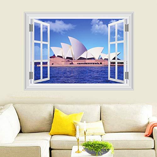 Sydney Opera House Wandaufkleber Steuern Dekor Wohnzimmer 3D Fenster Australien Landschaft Wandtattoos Kunst Diy Poster