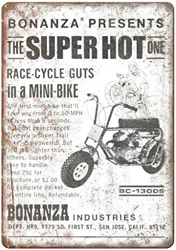 Jimoon Bonanza Industries MiniBike Blechschild Vintage Metall Plakat Wandschild Dekoration Warnschild für Hausmann Höhle Café Bar Film Theater Büro Handwerk