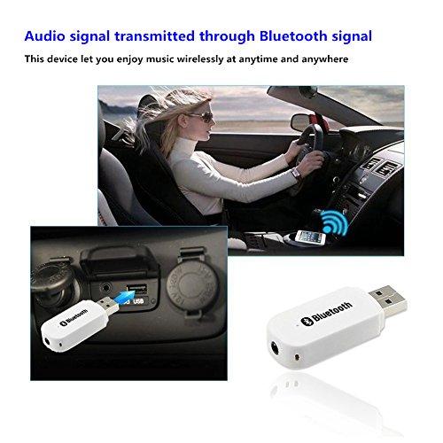 Andven USB Bluetooth Musik Empfänger Adapter, Tragbare Bluetooth Receiver Wireless Adapter Audiogeräte für Heim Auto Lautsprechersystem und Handy mit Stereo 3.5 mm Aux